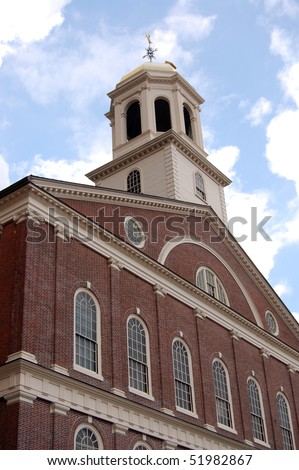 The historic landmark Faneuil Hall on a bright sunny day in Boston, Massachusetts - stock photo