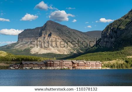 The historic Many Glacier Hotel in Glacier National Park, Montana - stock photo