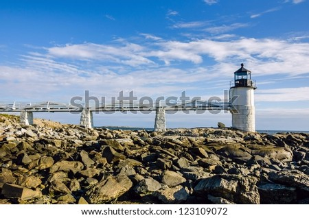The Historic Marshall Point Lighthouse, Maine - stock photo