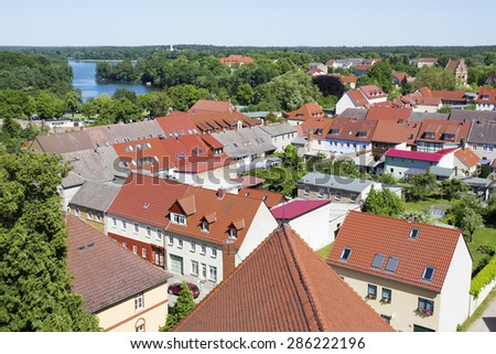The historic old town of Templin, East Germany - stock photo