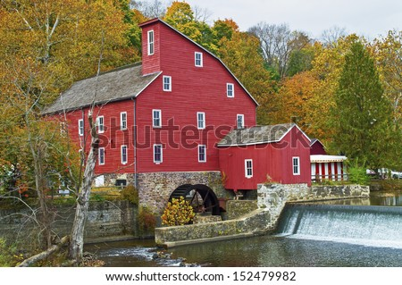 THe historic Red Mill in Clinton Township in New Jersey. - stock photo