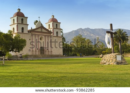 The historic Santa Barbara Mission in California, USA - stock photo