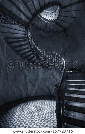 The historic spiral staircase - stock photo