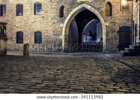 The historic street in the old town in Gdansk - stock photo