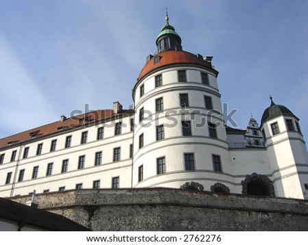 The historic walls and castle at Neuberg, Bavaria, Germany.