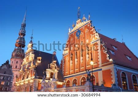 The historical Blackhead's house in Riga, Latvia. - stock photo