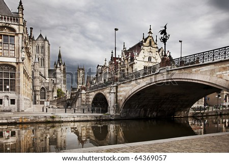 The historical city core of Ghent, Belgium