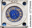 the historical clock on the Torre del' Orologio on the St. Mark's square in Venice - stock
