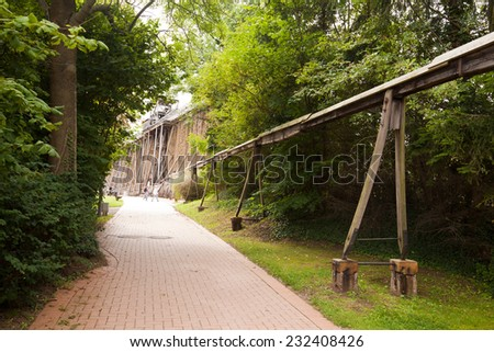 the historical power transmission system of graduation house Bad Kosen, in operation for nearly 250 years - stock photo