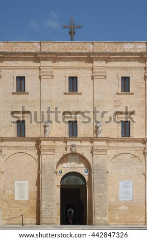 The historical sanctuary Santa Maria di Leuca - Detail of the facade Salento, Apulia, Italy