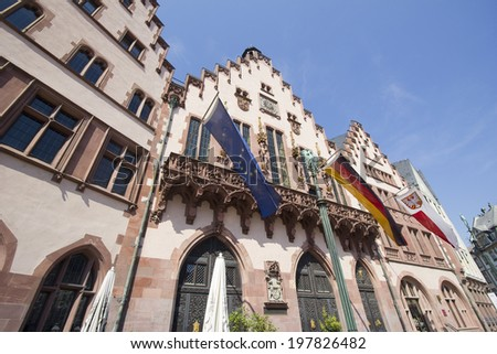 The historical town hall (Rathaus) of Frankfurt, Germany with regional banners - stock photo