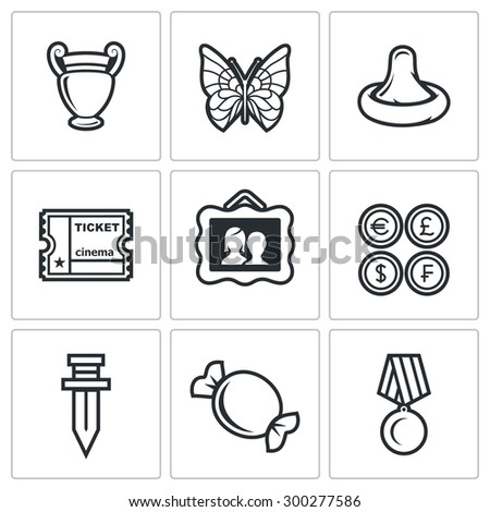 The hobby of collecting icons set.  Isolated Flat Icons collection on a white background for design