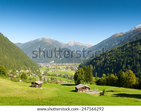 The holiday village Mayrhofen in the ziller valley - stock photo