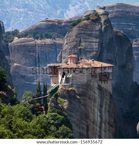 The Holy Monastery of Rousanou (St. Barbara) at Meteora, Trikala region in Greece - stock photo