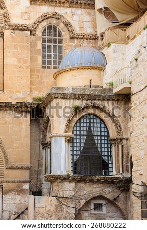 The Holy Sepulcher Church facade, in the old city of Jerusalem, Israel - stock photo