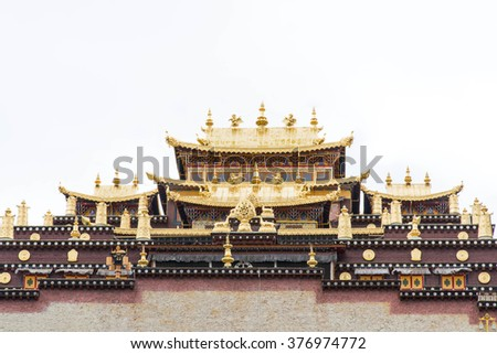 the holy temple in monastery, Tibet, China - stock photo