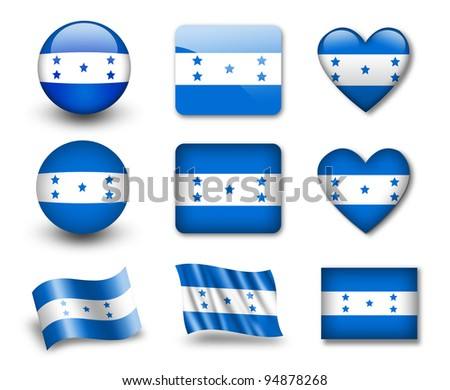The Honduran flag - set of icons and flags. glossy and matte on a white background. - stock photo