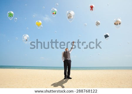 The hope of the human in the balloon. - stock photo