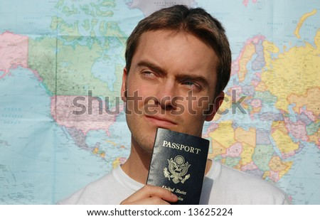 The hopeful American traveler - stock photo