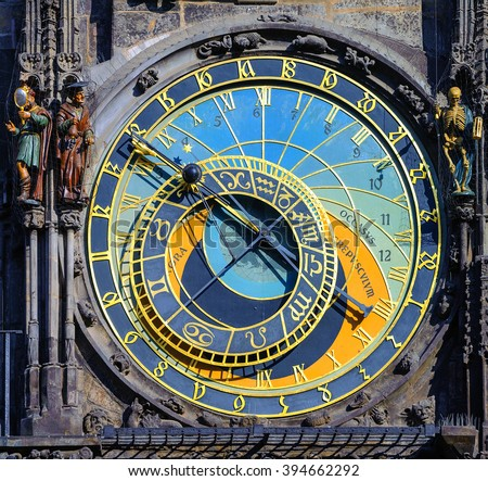 The Horologe (Orloj), the medieval astronomic clock with astrological inscripts, on the Old Town Hall Tower in Prague, Czech Republic - stock photo