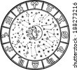 The Horoscope circle with  Zodiac signs and constellations of the zodiac.Inside the symbol of the sun and moon.Retro style.Black and white colors.Illustration - stock photo
