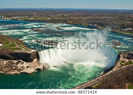 The Horseshoe Falls, also known as the Canadian Falls, part of Niagara Falls on the Niagara River - stock photo