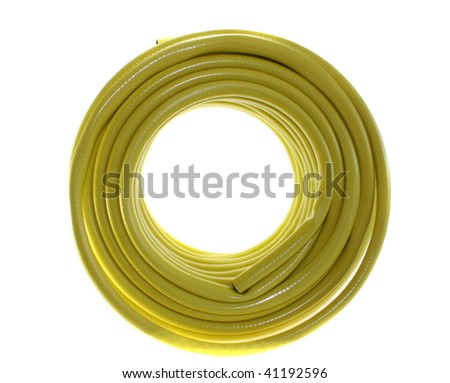 The hose yellow on a white background, is isolated - stock photo