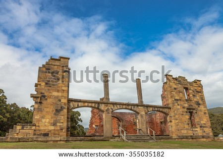 The Hospital is a ruin sitting on the hill overlooking the settlement of Port Arthur Historic Site, UNESCO heritage, in Tasman Peninsula, Tasmania. . - stock photo