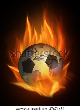 The hot burning contour of a football
