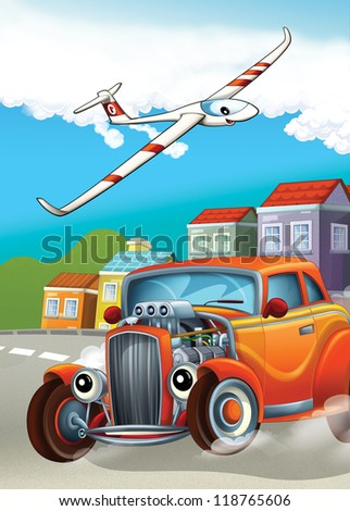 The hot rod and the flying machine - illustration for the children