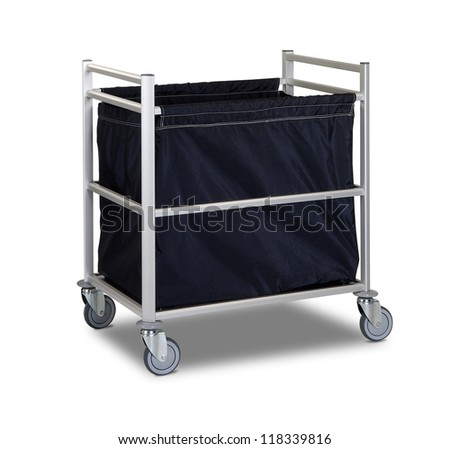 The hotel cleaning tool cart isolated - stock photo