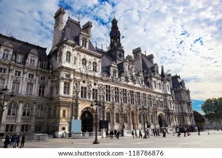 The Hotel de Ville, Paris, France. Houses City of Paris's administration - stock photo