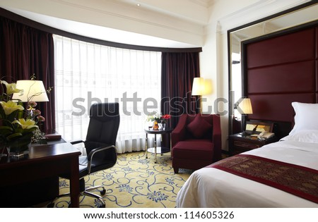 The hotel's bedroom - stock photo
