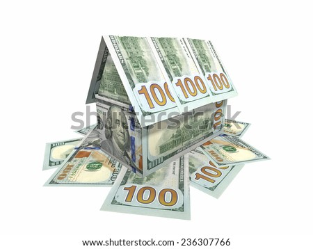 The house, built of banknotes $ 100 - stock photo