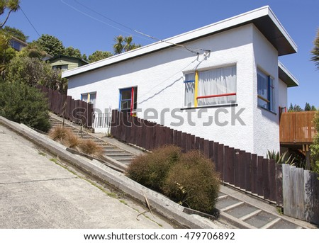 The house built on Baldwin Street, the steepest street in the world (Dunedin, New Zealand).