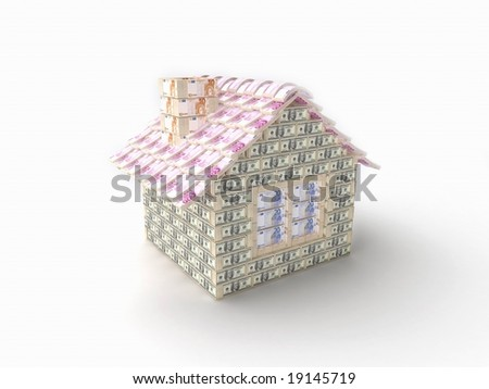 The house made of 100 dollar packs with tiles made of 500 Euro packs