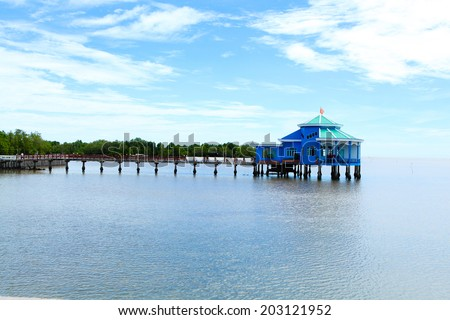 The house on the sea in Camau, Vietnam - stock photo