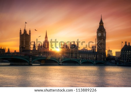 The Houses of Parliament and Big Ben at sunset - stock photo