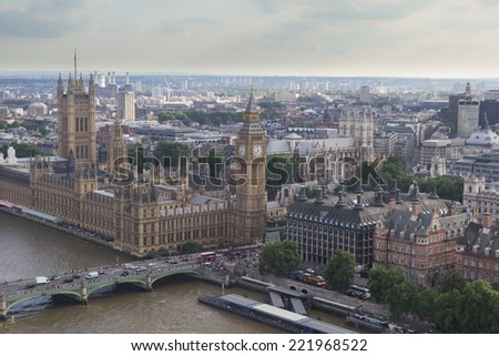 The Houses of Parliament, London, England - stock photo