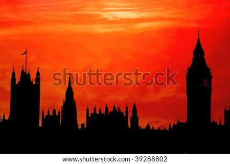The Houses of Parliament, London in red sunset silhouette - stock photo
