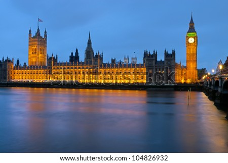 The Houses of Parliament on a rainy day - stock photo