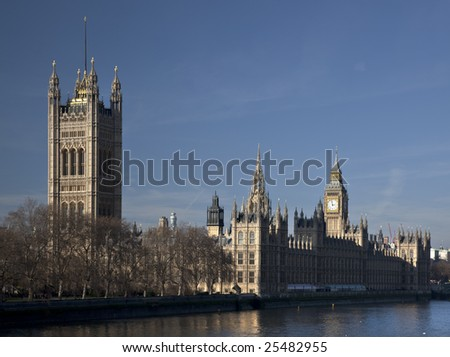 The Houses of Parliament (Westminster Palace) seen from Lambeth Bridge during the afternoon