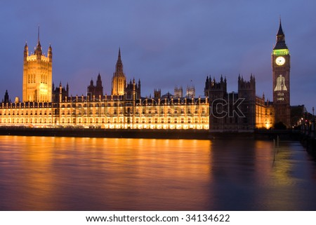 The houses of Parliament, with an illumination celebrating 150 years of Big Ben - stock photo