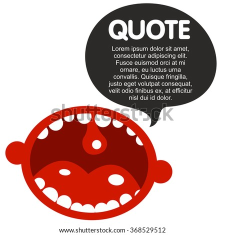 The human mouth cartoon characters with quote bubble - stock photo