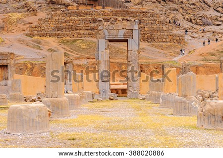 The hundred columns hall in the ancient city of Persepolis, Iran. UNESCO World heritage site - stock photo