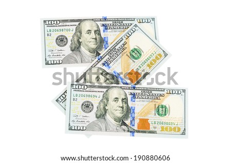 The hundred dollars isolated on white background - stock photo