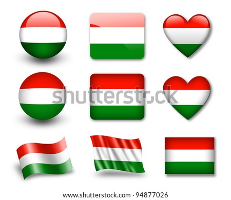 The Hungarian flag - set of icons and flags. glossy and matte on a white background. - stock photo