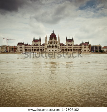 the hungarian parliament during a flood - stock photo