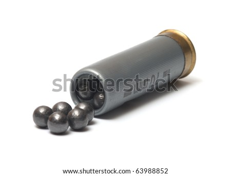 The hunting cartridge with a case-shot charge on a white background. - stock photo