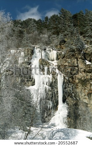 The ice cascade in mountains.